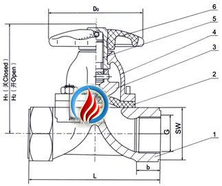 eg11w内螺纹隔膜阀 (结构图)